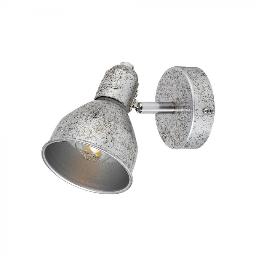Aplica de perete cu 1 spot design industrial THELMA argintiu antic 5386 RX, Aplice aplicate perete sau tavan cu spot, LED⭐ modele moderne corpuri de iluminat tip spot-uri pe bara.✅Design decorativ 2021!❤️Promotii lampi❗ ➽ www.evalight.ro. Alege oferte aplice de iluminat interior, lustre si plafoniere cu 1 spot cu lumina LED si directie reglabila, spot orientabil cu intrerupator, simple si ieftine de calitate la cel mai bun pret. a