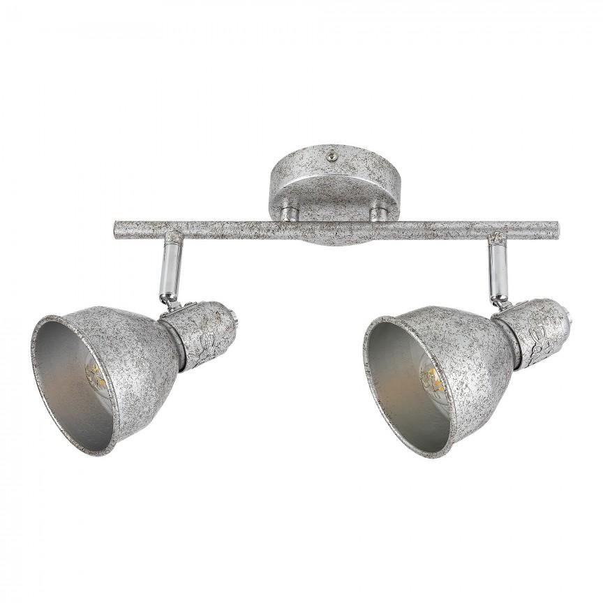 Aplica cu 2 spoturi design industrial THELMA argintiu antic 5387 RX, Aplice aplicate perete sau tavan cu spoturi, LED⭐ modele moderne corpuri de iluminat tip spoturi pe bara.✅Design decorativ 2021!❤️Promotii lampi❗ ➽ www.evalight.ro. Alege oferte aplice de iluminat interior, lustre si plafoniere cu 2 spoturi cu lumina LED si directie reglabila, spot orientabil cu intrerupator, simple si ieftine de calitate la cel mai bun pret. a