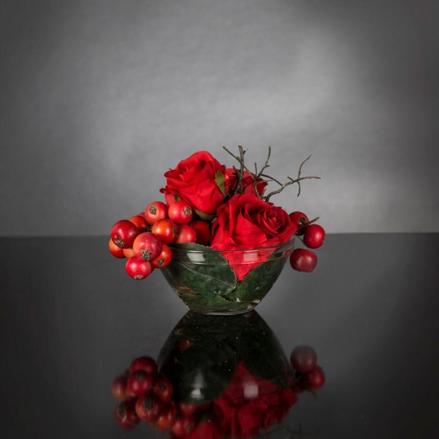 Aranjament floral mic decor festiv design LUX ETERNITY RED FRUIT BOUQUET 1142314.30, Magazin,  a