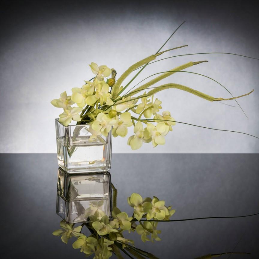 Aranjament floral mic decor festiv design LUX ETERNITY CUBO MINI PHALAENOPSI, Magazin,  a