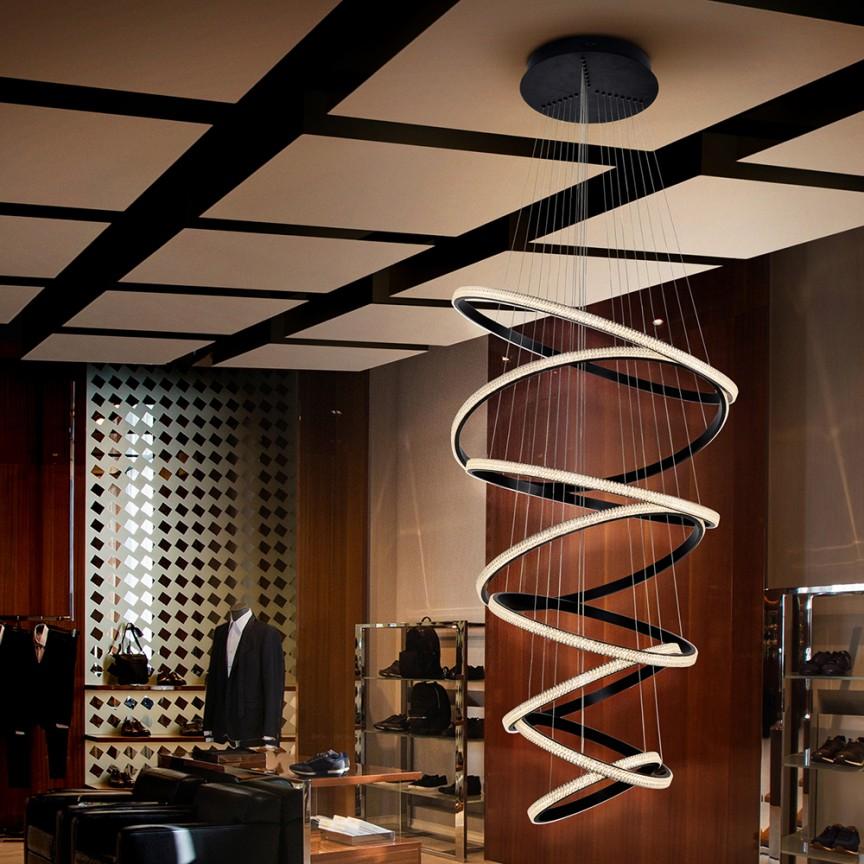 Lustra LED suspendata design modern XXL Ring Ø80cm SV-717694, Lustre casa scarii, Candelabre mari XXL⭐ modele moderne lungi potrivite pentru horeca (hotel, restaurant, pensiune, bar), spatii comerciale sau case spatioase (bucatarie, dormitor, hol, living).✅Design de lux premium actual Top 2020! ❤️Promotii lampi❗ ➽ www.evalight.ro. Alege oferte la corpuri de iluminat cristal de calitate deosebita la cel mai bun pret. a