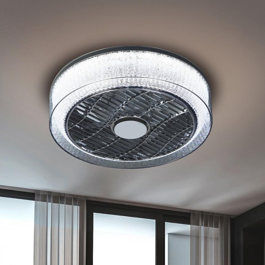 Lustra cu Venilator de tavan, iluminat LED si telecomanda Ø40cm Wind crom / fumuriu SV-146172, Lustre cu ventilator de tavan⭐ modele moderne de ventilatoare cu iluminat LED (lumina) si telecomanda.✅Sisteme de ventilatie profesionale pt ventilare casa sau birou.❤️Promotii candelabre cu ventilator❗ ➽www.evalight.ro. Alege oferte la corpuri de iluminat cu ventilator de plafon sau de perete pentru camera: living, baie, bucatarie, dormitor, ieftine sau de lux, calitate premium la cel mai bun pret! a