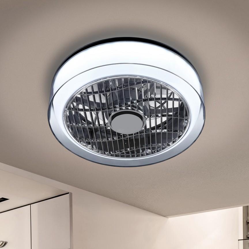 Lustra cu Venilator de tavan, iluminat LED si telecomanda Ø40cm Wind crom fumuriu / opal SV-146180, Lustre cu ventilator de tavan⭐ modele moderne de ventilatoare cu iluminat LED (lumina) si telecomanda.✅Sisteme de ventilatie profesionale pt ventilare casa sau birou.❤️Promotii candelabre cu ventilator❗ ➽www.evalight.ro. Alege oferte la corpuri de iluminat cu ventilator de plafon sau de perete pentru camera: living, baie, bucatarie, dormitor, ieftine sau de lux, calitate premium la cel mai bun pret! a