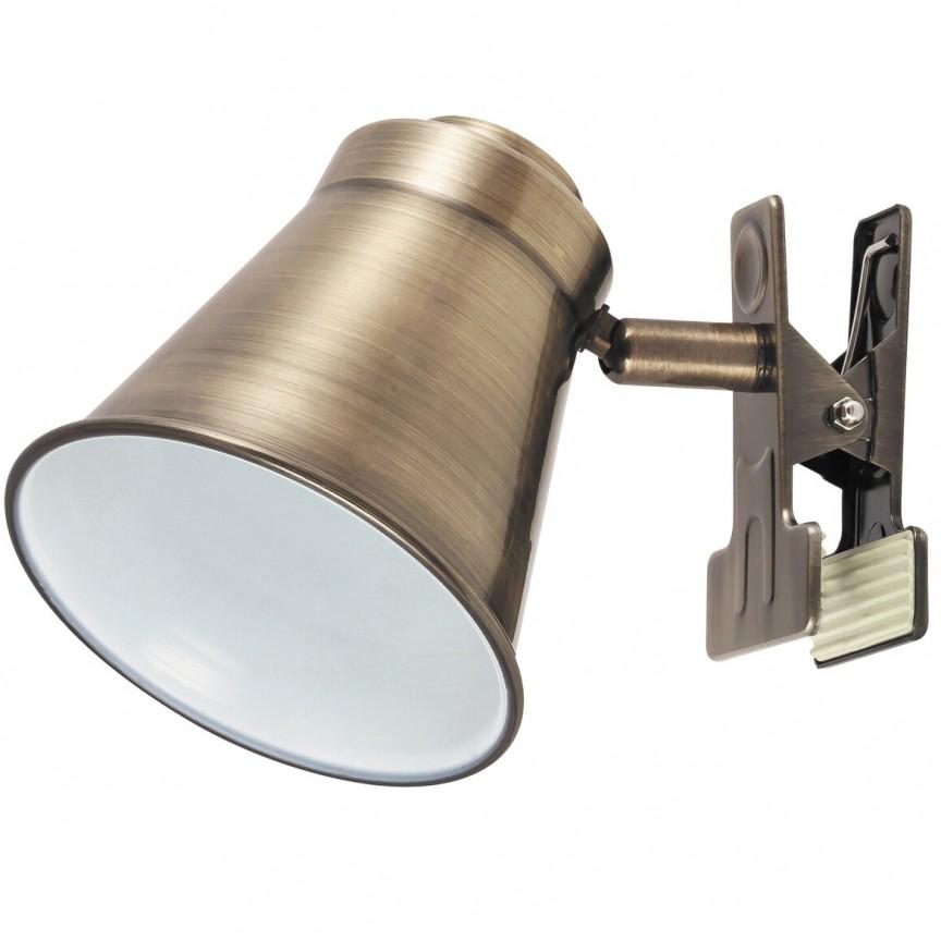 Aplica cu clips modern industria style finisaj bronz Martina 6520 RX, Aplice aplicate perete sau tavan cu spot, LED⭐ modele moderne corpuri de iluminat tip spot-uri pe bara.✅Design decorativ 2021!❤️Promotii lampi❗ ➽ www.evalight.ro. Alege oferte aplice de iluminat interior, lustre si plafoniere cu 1 spot cu lumina LED si directie reglabila, spot orientabil cu intrerupator, simple si ieftine de calitate la cel mai bun pret. a