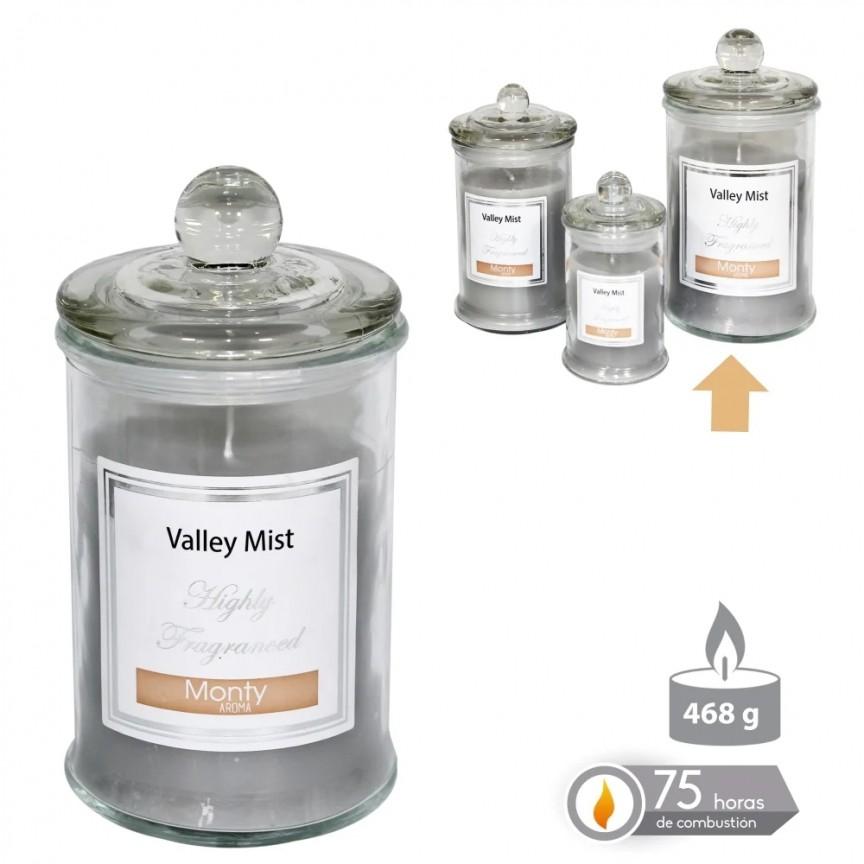 Lumanare parfumata GLASS JAR CANDLE VALLEY MIST gri SX-131088, Magazin,  a