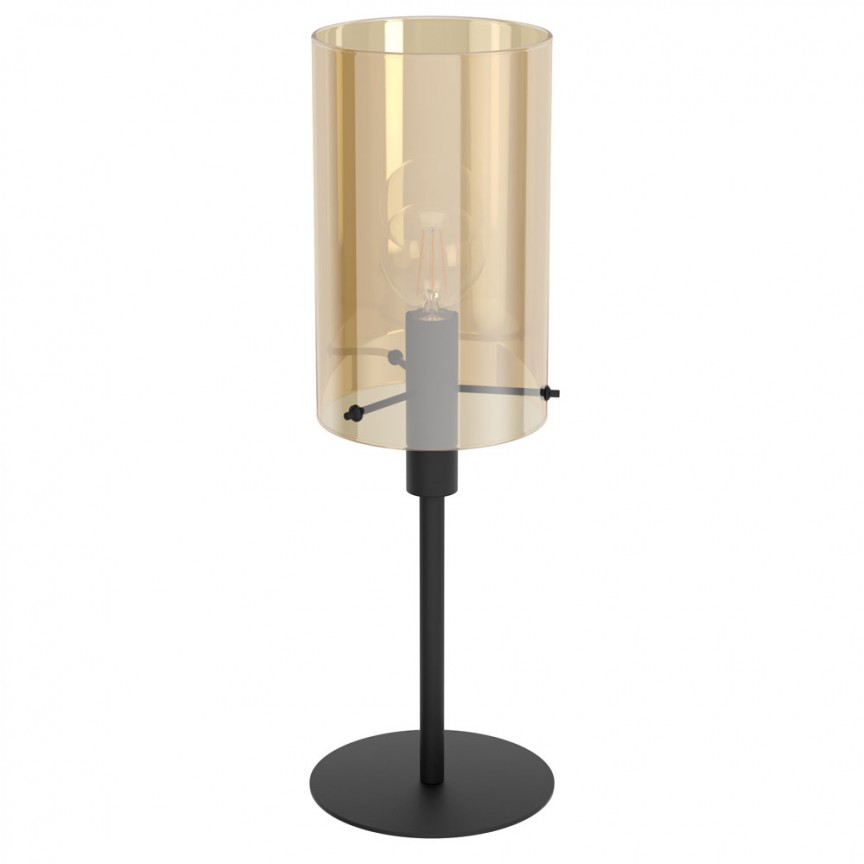 Veioza, Lampa de masa cu sticla chihlimbar POLVERARA 39541 EL, Magazin,  a
