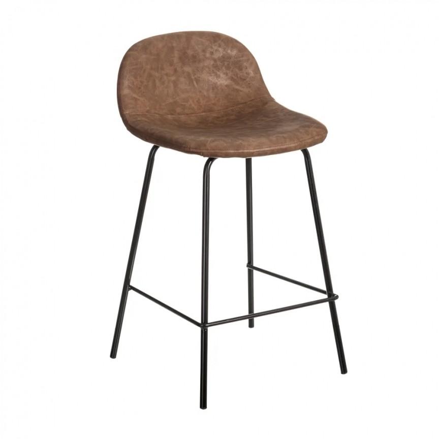 Set de 2 scaune de bar design modern Jaffer, maro inchis-negru SX-154401, Magazin,  a