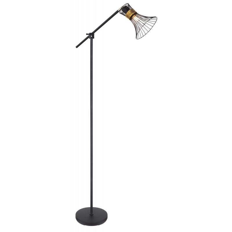 Lampadar modern metalic negru-auriu PURRA 54814S GL, Lampadare moderne si lampi de podea cu picior inalt⭐ modele deosebite stil scandinav, retro sau vintage pentru living si dormitor.✅Design premium actual Top 2020!❤️Promotii lampi❗ ➽ www.evalight.ro. Alege oferte la lampadare de lux pt iluminat interior decorativ, rustice, clasice, industrial, cu reader LED, elegante cu cristale, cu masuta, cu picior tip trepied lemn, reglabil, telescopic curbat tip arc, abajur din sticla, tesatura cu flori, ieftine si de calitate la cel mai bun pret. a
