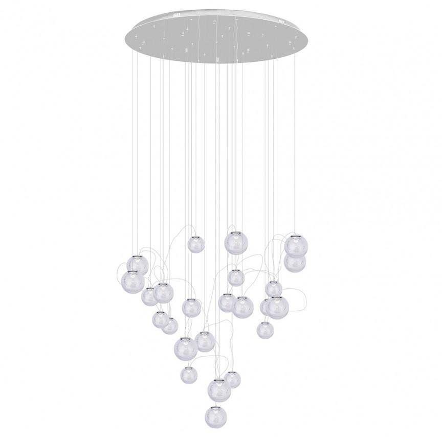 Lustra LED design casa scarii cu 24 pendule suspendate ZOE crom P0386 MX, Lustre casa scarii, Candelabre mari XXL⭐ modele moderne lungi potrivite pentru horeca (hotel, restaurant, pensiune, bar), spatii comerciale sau case spatioase (bucatarie, dormitor, hol, living).✅Design de lux premium actual Top 2020! ❤️Promotii lampi❗ ➽ www.evalight.ro. Alege oferte la corpuri de iluminat cristal de calitate deosebita la cel mai bun pret. a