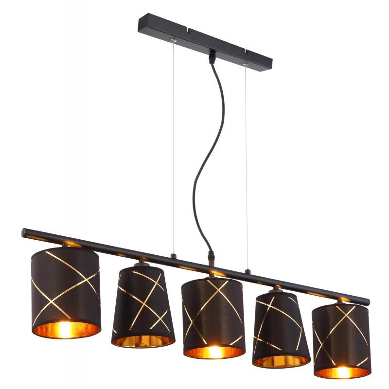 Lustra cu 5 pendule design modern BEMMO negru, auriu 15431-5H GL,  a