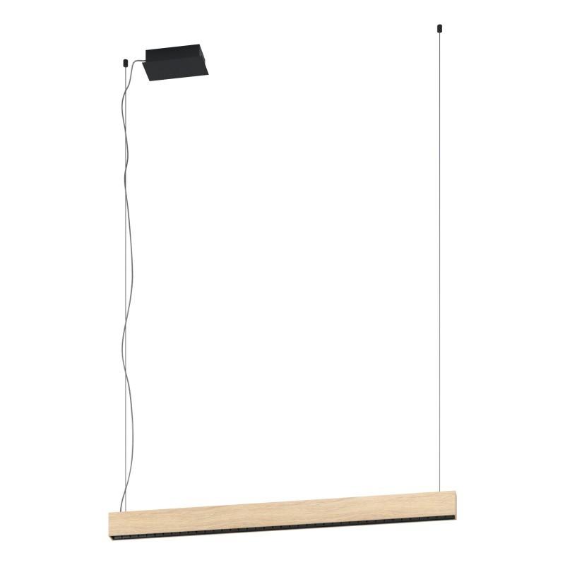 Lustra LED dimabila design modern TERMINI negru/ lemn maro 39718 EL,  a