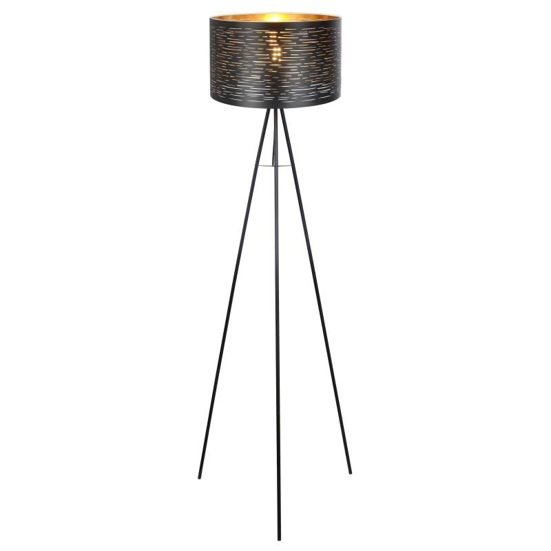 Lampadar cu trepied design modern TUNNO negru, auriu 15342S GL, Lampadare moderne si lampi de podea cu picior inalt⭐ modele deosebite stil scandinav, retro sau vintage pentru living si dormitor.✅Design premium actual Top 2020!❤️Promotii lampi❗ ➽ www.evalight.ro. Alege oferte la lampadare de lux pt iluminat interior decorativ, rustice, clasice, industrial, cu reader LED, elegante cu cristale, cu masuta, cu picior tip trepied lemn, reglabil, telescopic curbat tip arc, abajur din sticla, tesatura cu flori, ieftine si de calitate la cel mai bun pret. a