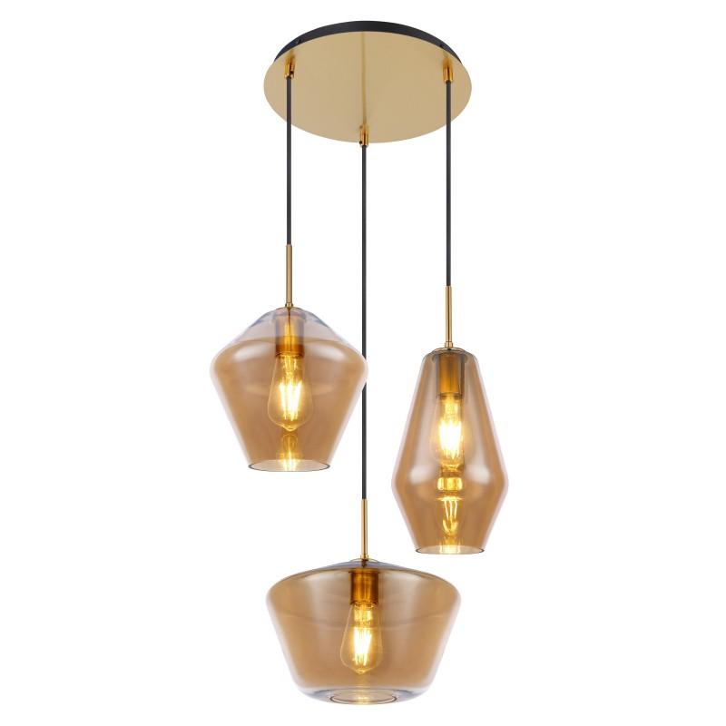 Lustra cu 3 pendule design modern COBY I chihlimbar 15435H3 GL,  a