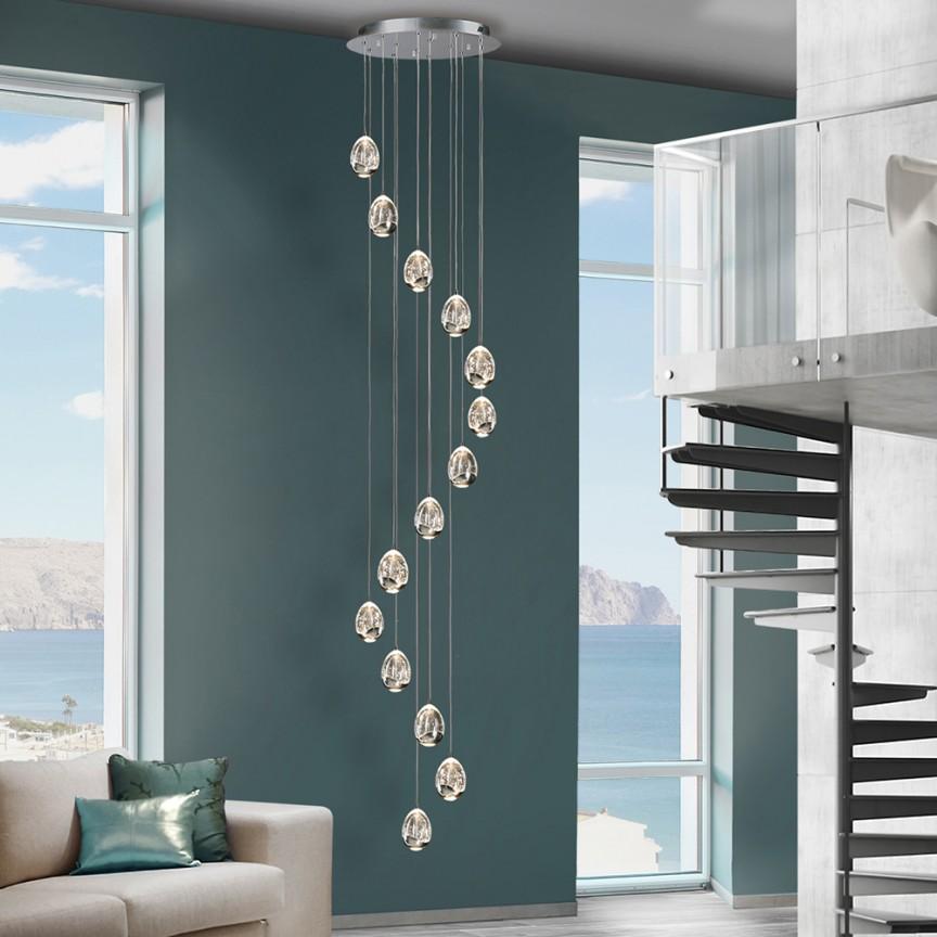LUSTRA XXL LED DIMABILA prin BLUETOOTH ROCIO, crom, H-500cm, SV-785635GB, Lustre cu LED si telecomanda⭐ modele moderne pentru iluminat cu LED dormitor, living si sufragerie.✅Design decorativ 2021!❤️Promotii lampi❗ ➽www.evalight.ro. Alege oferte la corpuri de iluminat cu telecomanda dimabile 3 functii cu lumina LED RGB si intensitate reglabila, ieftine si de lux, calitate deosebita la cel mai bun pret. a