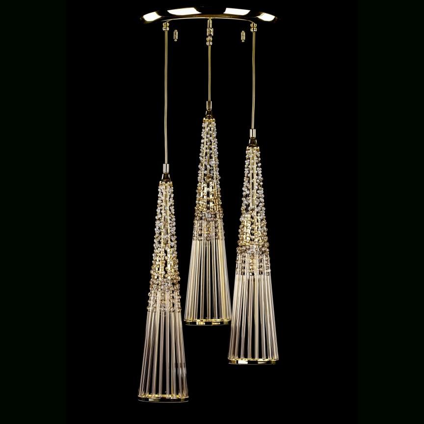 Lustra cu 3 pendule cristal Bohemia design LUX AMADEUS 02-CH, Cele mai noi produse 2021 a