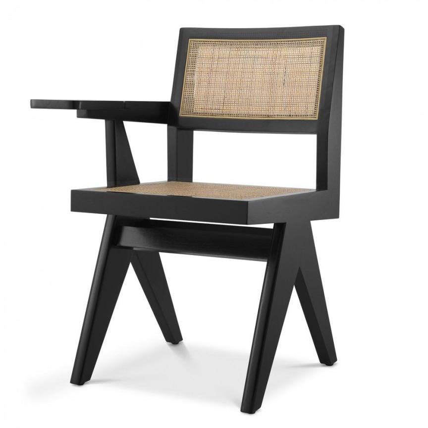 Scaun design clasic din lemn si rattan Niclas, negru 114739 HZ, Cele mai noi produse 2021 a