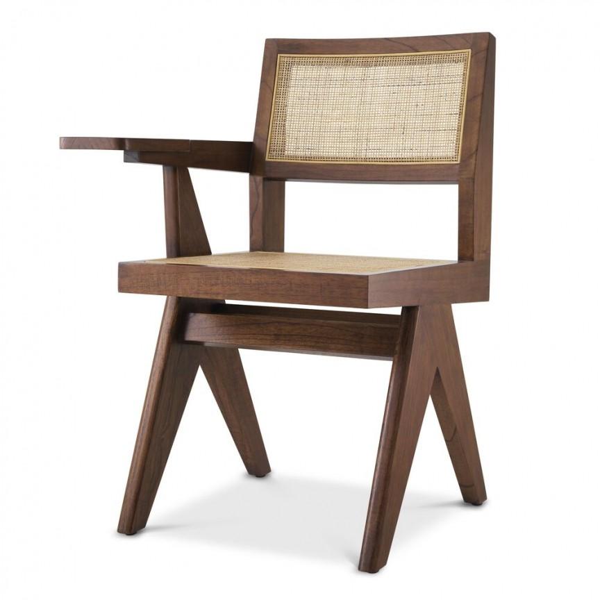 Scaun design clasic din lemn si rattan Niclas, maro 114569 HZ , Cele mai noi produse 2021 a