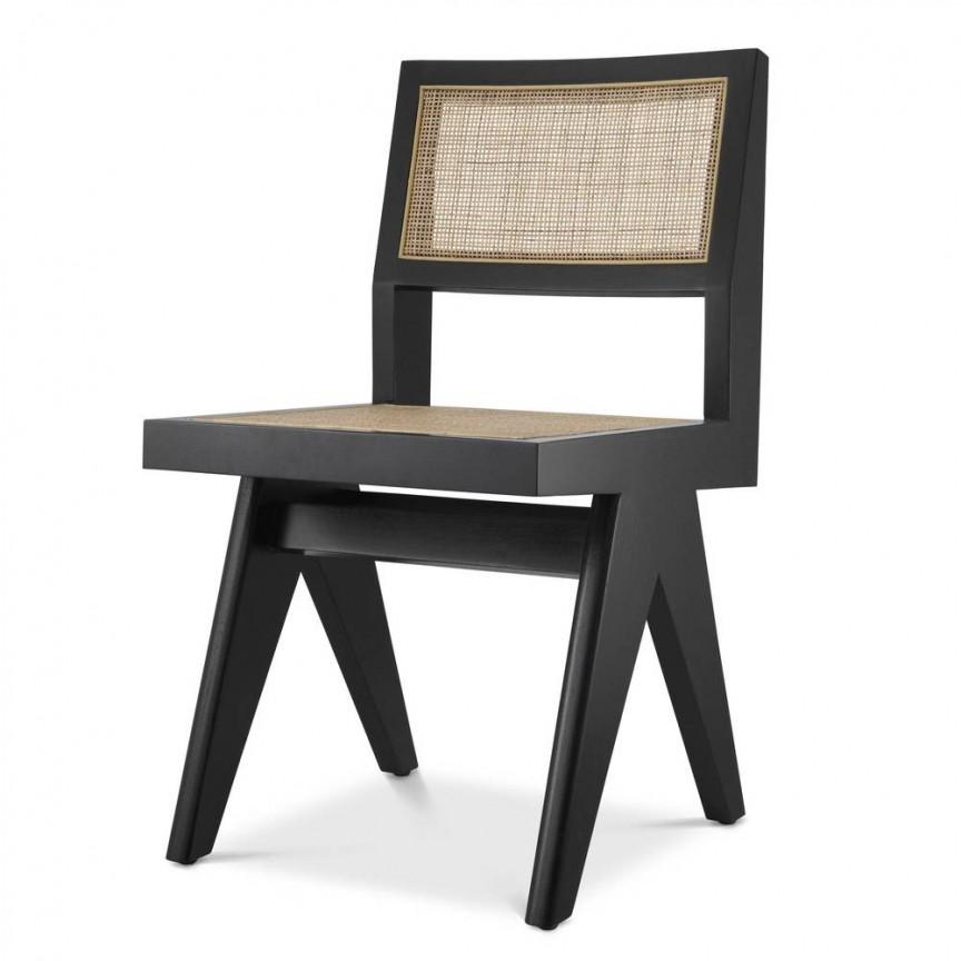 Scaun design clasic din lemn si rattan Niclas, negru 114737 HZ, Cele mai noi produse 2021 a