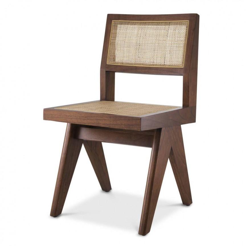 Scaun design clasic din lemn si rattan Niclas, maro 114507 HZ, Cele mai noi produse 2021 a