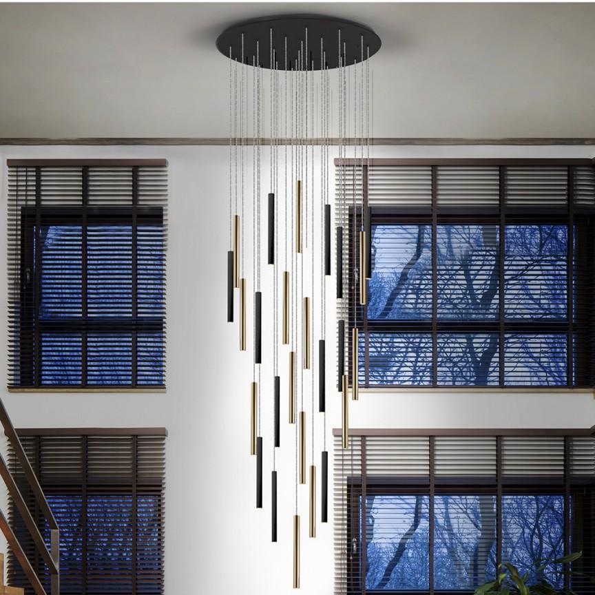 Lustra XL dimabila cu telecomanda 25 pendule LED design modern Varas auriu/negru SV-373968D, Lustre cu LED si telecomanda⭐ modele moderne pentru iluminat cu LED dormitor, living si sufragerie.✅Design decorativ 2021!❤️Promotii lampi❗ ➽www.evalight.ro. Alege oferte la corpuri de iluminat cu telecomanda dimabile 3 functii cu lumina LED RGB si intensitate reglabila, ieftine si de lux, calitate deosebita la cel mai bun pret. a