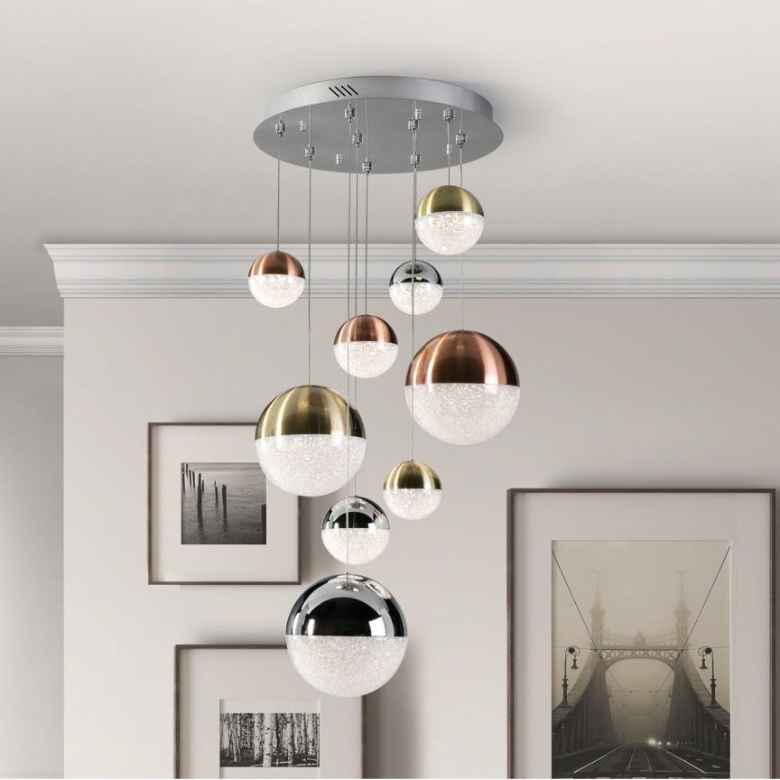 LUSTRA cu 9 pendule LED DIMABILA prin BLUETOOTH Sphere SV-793091B, Corpuri de iluminat LED pentru interior⭐ moderne: Lustre LED, Aplice LED, Plafoniere LED, Candelabre LED, Spoturi LED, Veioze LED, Lampadare LED.✅DeSiGn decorativ 2021!❤️Promotii lampi LED❗ Magazin online ➽ www.evalight.ro. Alege oferte la corpuri de iluminat cu LED, ieftine de calitate deosebita la cel mai bun pret. a