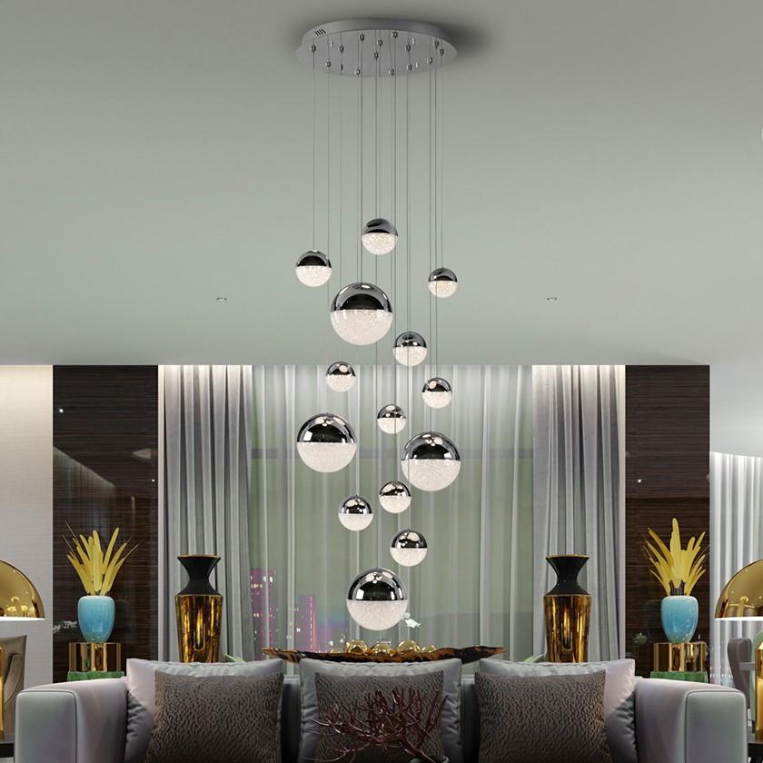 LUSTRA XXL cu 14 pendule LED, H-500cm, DIMABILA prin BLUETOOTH Sphere SV-793269GB, Lustre si corpuri de iluminat pentru casa scarii⭐ candelabre mari elegante de lux, decorate cu cristale, stil modern.✅DeSiGn decorativ 2021❗ Magazin ➽ www.evalight.ro. Alege oferte la colectile NOI de corpuri de iluminat interior suspendate de tip suspensii, modele potrivite pt HoReCa (hotel, receptie restaurant, pensiune, bar), spatii comerciale sau case spatioase cu tavan înalt, calitate deosebita la cel mai bun pret. a