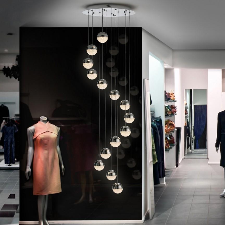 LUSTRA cu 14 pendule LED, H-300cm, DIMABILA prin BLUETOOTH Sphere 50cm SV-793746B, Lustre si corpuri de iluminat pentru casa scarii⭐ candelabre mari elegante de lux, decorate cu cristale, stil modern.✅DeSiGn decorativ 2021❗ Magazin ➽ www.evalight.ro. Alege oferte la colectile NOI de corpuri de iluminat interior suspendate de tip suspensii, modele potrivite pt HoReCa (hotel, receptie restaurant, pensiune, bar), spatii comerciale sau case spatioase cu tavan înalt, calitate deosebita la cel mai bun pret. a