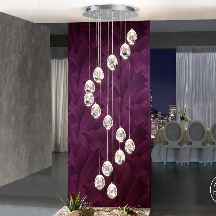 LUSTRA LED CU 14 PENDULE LED DIMABILA prin BLUETOOTH ROCIO, crom SV-785635B, Lustre si corpuri de iluminat pentru casa scarii⭐ candelabre mari elegante de lux, decorate cu cristale, stil modern.✅DeSiGn decorativ 2021❗ Magazin ➽ www.evalight.ro. Alege oferte la colectile NOI de corpuri de iluminat interior suspendate de tip suspensii, modele potrivite pt HoReCa (hotel, receptie restaurant, pensiune, bar), spatii comerciale sau case spatioase cu tavan înalt, calitate deosebita la cel mai bun pret. a