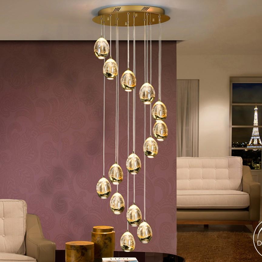 LUSTRA LED CU 14 PENDULE LED DIMABILA prin BLUETOOTH ROCIO, auriu SV-785648B, Lustre si corpuri de iluminat pentru casa scarii⭐ candelabre mari elegante de lux, decorate cu cristale, stil modern.✅DeSiGn decorativ 2021❗ Magazin ➽ www.evalight.ro. Alege oferte la colectile NOI de corpuri de iluminat interior suspendate de tip suspensii, modele potrivite pt HoReCa (hotel, receptie restaurant, pensiune, bar), spatii comerciale sau case spatioase cu tavan înalt, calitate deosebita la cel mai bun pret. a