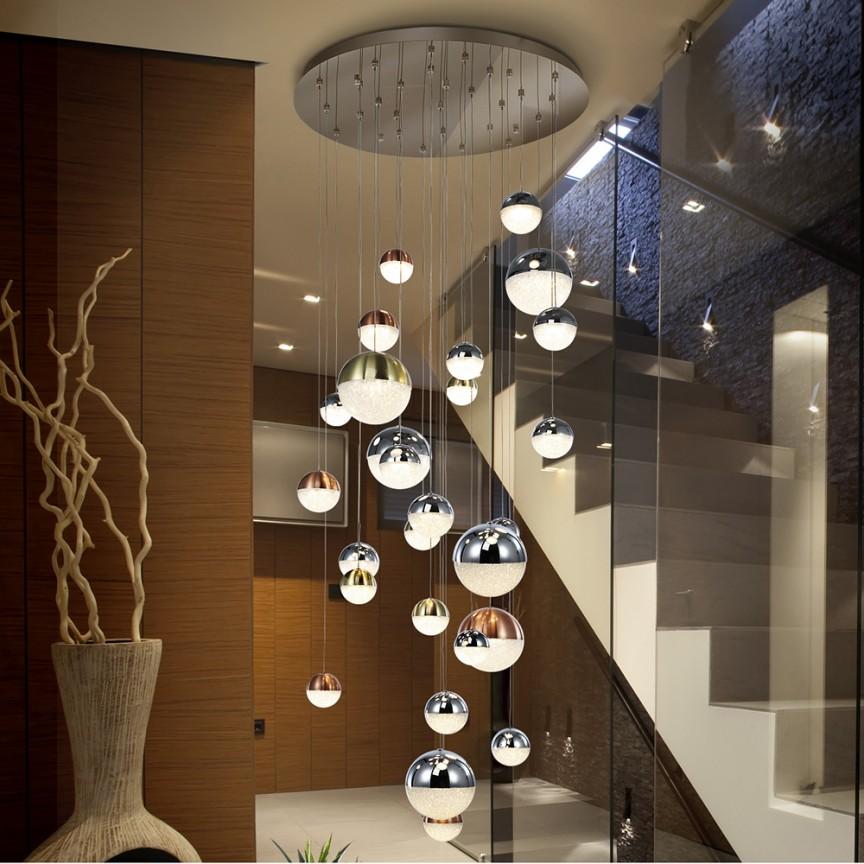 LUSTRA cu 27 pendule LED, H-300cm, DIMABILA prin BLUETOOTH Sphere 80cm SV-793960B, Lustre si corpuri de iluminat pentru casa scarii⭐ candelabre mari elegante de lux, decorate cu cristale, stil modern.✅DeSiGn decorativ 2021❗ Magazin ➽ www.evalight.ro. Alege oferte la colectile NOI de corpuri de iluminat interior suspendate de tip suspensii, modele potrivite pt HoReCa (hotel, receptie restaurant, pensiune, bar), spatii comerciale sau case spatioase cu tavan înalt, calitate deosebita la cel mai bun pret. a