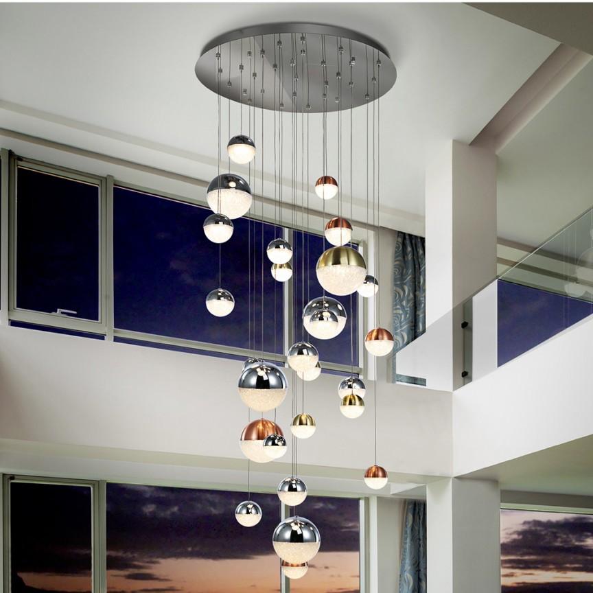 LUSTRA XXL cu 27 pendule, H-500cm, LED DIMABILA prin BLUETOOTH Sphere 80cm SV-793960GB, Lustre si corpuri de iluminat pentru casa scarii⭐ candelabre mari elegante de lux, decorate cu cristale, stil modern.✅DeSiGn decorativ 2021❗ Magazin ➽ www.evalight.ro. Alege oferte la colectile NOI de corpuri de iluminat interior suspendate de tip suspensii, modele potrivite pt HoReCa (hotel, receptie restaurant, pensiune, bar), spatii comerciale sau case spatioase cu tavan înalt, calitate deosebita la cel mai bun pret. a