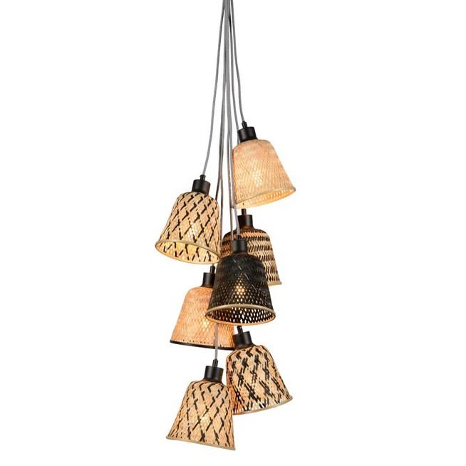 Lustra cu 7 pendule din bambus KALIMANTAN, Pendule / Lustre suspendate moderne, LED⭐ modele elegante potrivite pentru bucatarie, living dormitor.✅DeSiGn decorativ 2021!❤️Promotii lampi❗ ➽ www.evalight.ro. Alege oferte la colectile NOI de corpuri de iluminat suspendate pt interior cu stil modern, candelabre de tip suspensii (lungi) cu cristale, abajur material textil, brate tip lumanare, lemn, metal, sticla, ieftine si de lux, calitate deosebita la cel mai bun pret. a