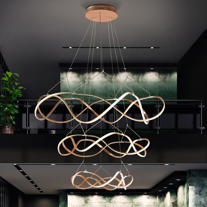 Lustra LED XXL pentru casa scarii design lux Ø110cm Molly auriu roze SV-763455, Corpuri de iluminat cu LED pentru interior⭐ modele moderne pt living dormitor, bucatarie, baie.✅DeSiGn LED decorativ 2021!❤️Promotii lampi LED❗ ➽ www.evalight.ro. Alege oferte la colectile NOI de lustre LED suspendate, candelabre de tip suspensii (lungi) cu cristale, abajur material textil, brate tip lumanare, lemn, metal, sticla, ieftine si de lux, calitate deosebita la cel mai bun pret. a