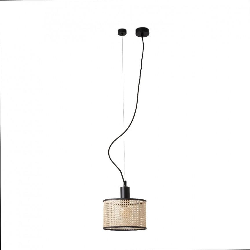 Lustra pendul moderna design natural MAMBO ø21cm negru/ratan 64314-47, Promotii si Reduceri⭐ Oferte ✅Corpuri de iluminat ✅Lustre ✅Mobila ✅Decoratiuni de interior si exterior.⭕Pret redus online➜Lichidari de stoc❗ Magazin ➽ www.evalight.ro. a