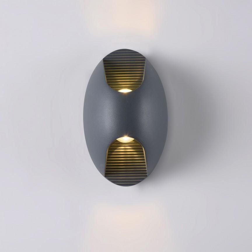 Aplica LED pentru iluminat exterior design modern Times Square IP65 negru MYO594WL-L6GR, Corpuri de iluminat exterior⭐ modele rustice, clasice, moderne pentru gradina, terasa, curte si alei.✅Design decorativ 2021!❤️Promotii lampi❗ Magazin online➽www.evalight.ro. a