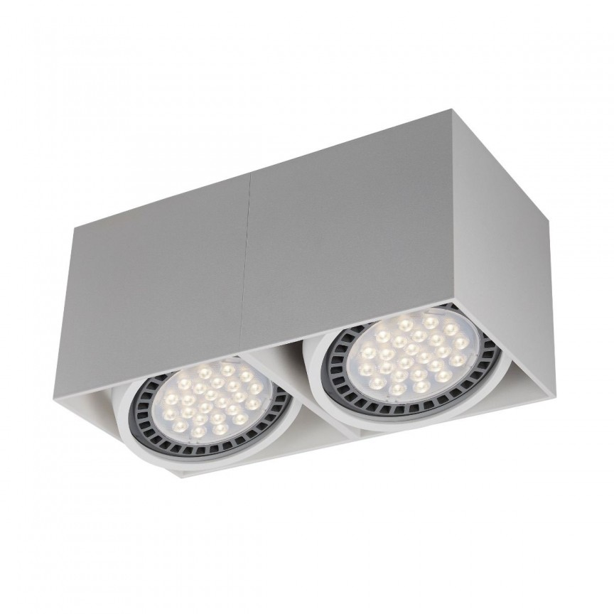 Spot LED aplicat modern BOX 2 alb, Spoturi aplicate tavan / perete, mobila, LED⭐modele moderne pentru living,dormitor,bucatarie,baie,hol.✅Design decorativ 2021!❤️Promotii lampi❗ ➽ www.evalight.ro. Alege oferte la colectile NOI de corpuri de iluminat interior de tip spot-uri aparente cu LED, (rotunde si patrate), ieftine de calitate la cel mai bun pret. a