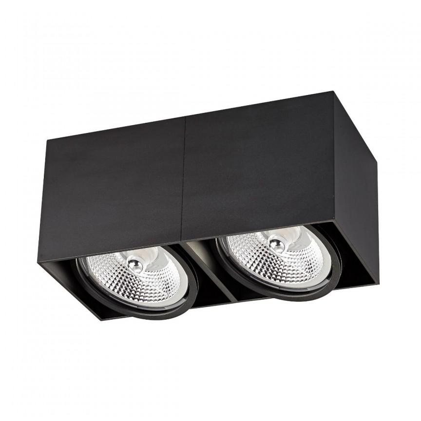 Spot LED aplicat modern BOX 2 negru, Spoturi aplicate tavan / perete, mobila, LED⭐modele moderne pentru living,dormitor,bucatarie,baie,hol.✅Design decorativ 2021!❤️Promotii lampi❗ ➽ www.evalight.ro. Alege oferte la colectile NOI de corpuri de iluminat interior de tip spot-uri aparente cu LED, (rotunde si patrate), ieftine de calitate la cel mai bun pret. a