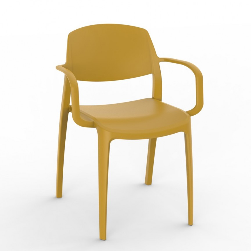 Set de 2 scaune din polipropilena pentru exterior / interior Smart Chair with Arms, Cele mai noi produse 2021 a