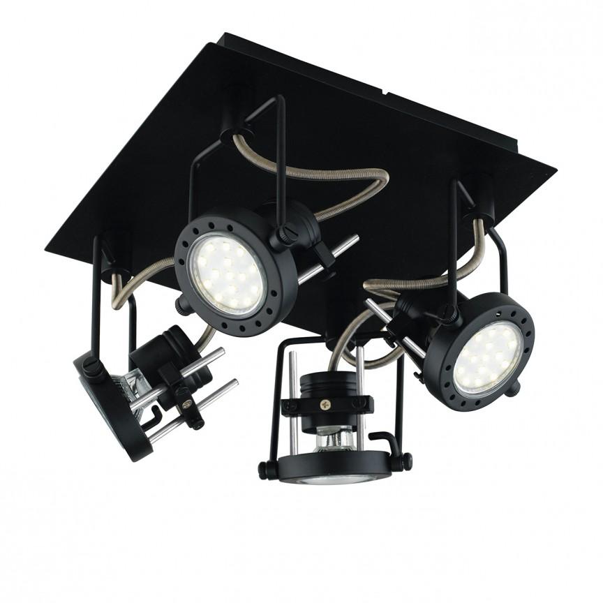 Plafoniera cu 4 spoturi directionabile design industrial TECHNO negru SPOT-TECHNO-PL4 NER FE, Cele mai noi produse 2021 a