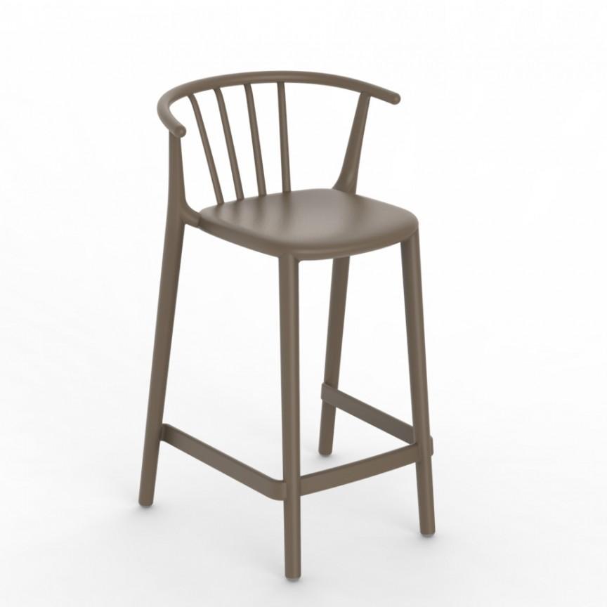 Set de 2 scaune bar, interior / exterior din polipropilena Woody Medium Stool, Cele mai noi produse 2021 a