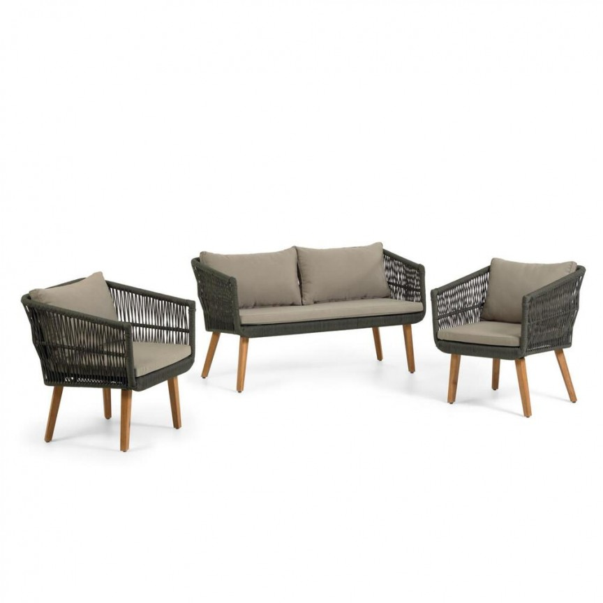 Set, canapea cu 2 fotolii, pentru exterior si interior Inti CC2100J12 JG, Cele mai noi produse 2021 a