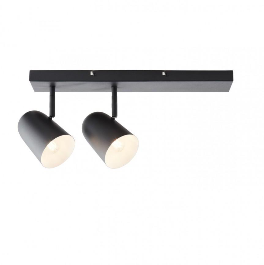 Plafoniera minimalista cu 2 spoturi Ayr, Aplice aplicate perete sau tavan cu spoturi, LED⭐ modele moderne corpuri de iluminat tip spoturi pe bara.✅Design decorativ 2021!❤️Promotii lampi❗ ➽ www.evalight.ro. Alege oferte aplice de iluminat interior, lustre si plafoniere cu 2 spoturi cu lumina LED si directie reglabila, spot orientabil cu intrerupator, simple si ieftine de calitate la cel mai bun pret. a