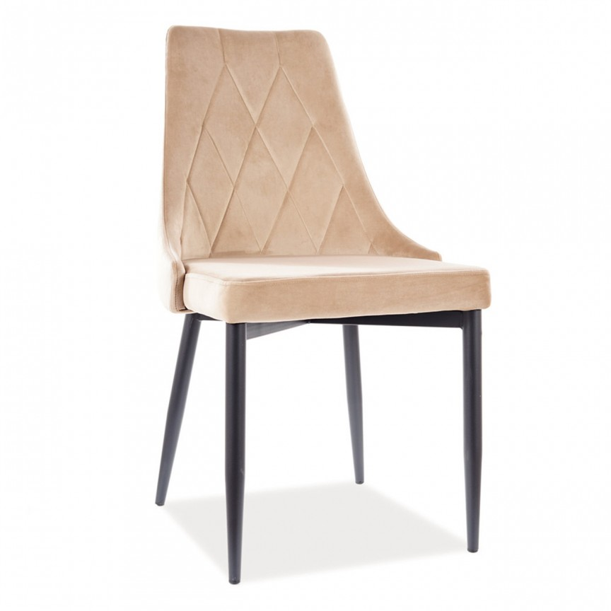 Scaun elegant cu tapiterie din catifea Trix B, bej TRIXBVCBE SM, Cele mai noi produse 2021 a