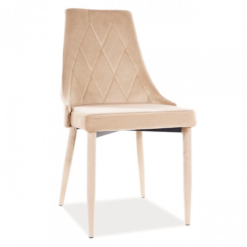 Scaun elegant cu tapiterie din catifea Trix B, bej TRIXVBE SM, Cele mai noi produse 2021 a
