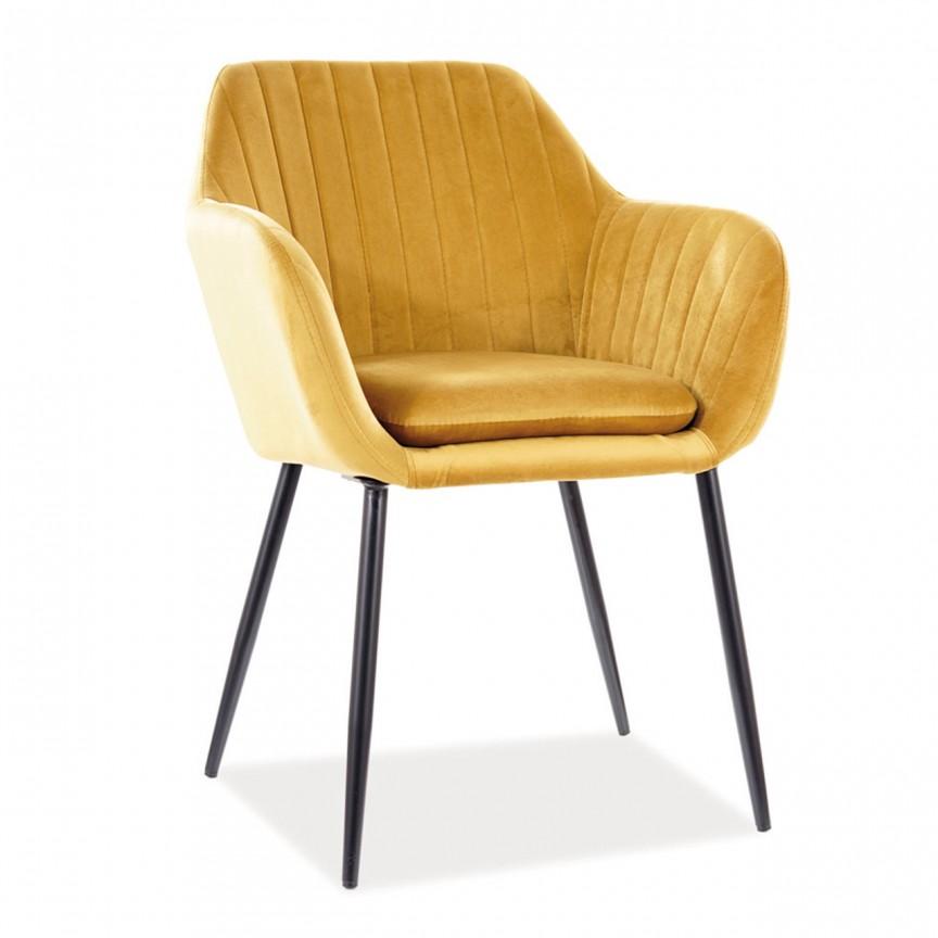 Scaun elegant, pivotant cu tapiterie din catifea Wenus, galben WENUSVCCU SM, Cele mai noi produse 2021 a