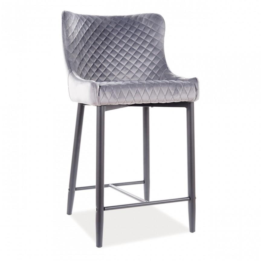 Scaun bar Colin B H-2, tapiterie din catifea gri COLINBH2VCSZ SM, Scaune de bar inalte⭐ modele moderne reglabile pe inaltime din lemn sau metal pentru bar bucatarie, mese cafenea.❤️Promotii scaune de bar❗ Intra si vezi poze ➽ www.evalight.ro. ➽ sursa ta de inspiratie online❗ ✅Design de lux original premium actual Top 2020❗ Alege scaunele de bar potrivite pt pult casa si mobilier dining si restaurant HoReCa, stil vintage (retro si industriale), tip taburete, rotative, rezistente, cu sejut din plastic sau tapitate cu catifea, piele naturala (ecologica), din material textil, cu spatar si brate, picioare lemn, metalice cu rotile, pivotante cu piston, cu roti, pliabile, intra ➽vezi oferte si reduceri cu vanzare rapida din stoc, ieftine si de calitate deosebita la cel mai bun pret. a