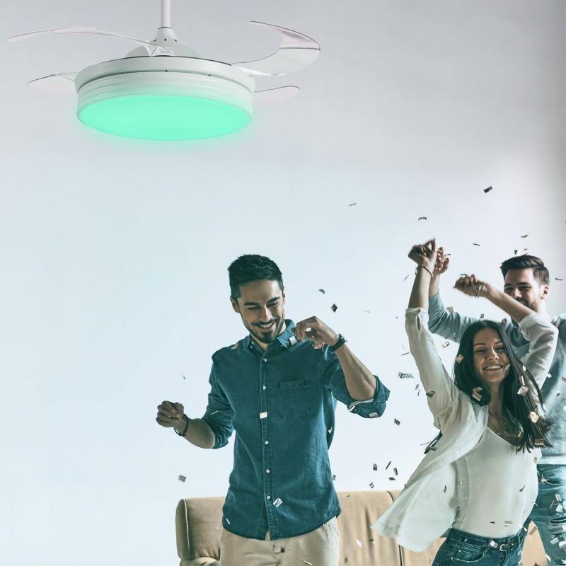 Lustra LED RGB cu Ventilator, Difuzor si telecomanda BOMBAY PARTY WIFI, Lustre cu ventilator de tavan⭐ modele NOI 2021✅ ventilatoare moderne cu sisteme de iluminat LED (lumina) si telecomanda.❤️Promotii lampi❗ ➽www.evalight.ro. Oferte la corpuri de iluminat si candelabre cu ventilator profesionale, aplicate de plafon sau perete pentru orice camera din casa: living, baie, bucatarie, dormitor, birou, ieftine sau de lux, calitate premium la cel mai bun pret! a