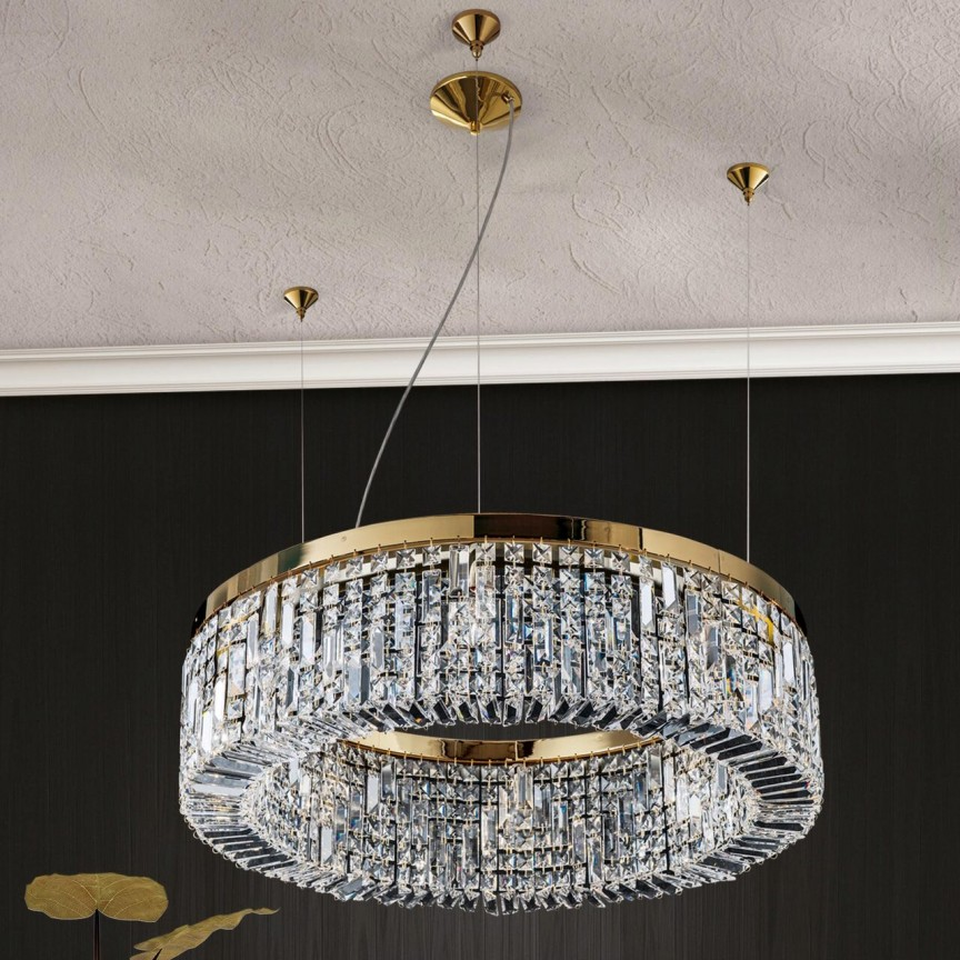 Lustra cristal Asfour design modern de lux Ring 24K 80cm gold plated, Lustre Cristal Asfour 30% PBO⭐ modele de candelabre mari XXL stil Imperial din cristal Asfour autentic❗ ✅Design Baroc unicat Premium Top 2021!❤️Promotii Lustre High Quality Crystal