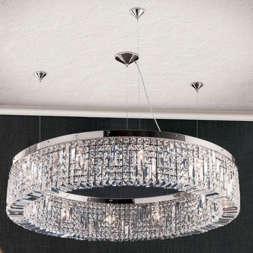 Lustra cristal Asfour design modern de lux Ring 110cm chrome plated, Lustre Cristal Asfour 30% PBO⭐ modele de candelabre mari XXL stil Imperial din cristal Asfour autentic❗ ✅Design Baroc unicat Premium Top 2021!❤️Promotii Lustre High Quality Crystal