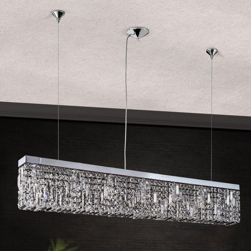 Lustra suspendata cristal Asfour design modern de lux Ring 130cm chrome plated, Lustre Cristal Asfour 30% PBO⭐ modele de candelabre mari XXL stil Imperial din cristal Asfour autentic❗ ✅Design Baroc unicat Premium Top 2021!❤️Promotii Lustre High Quality Crystal